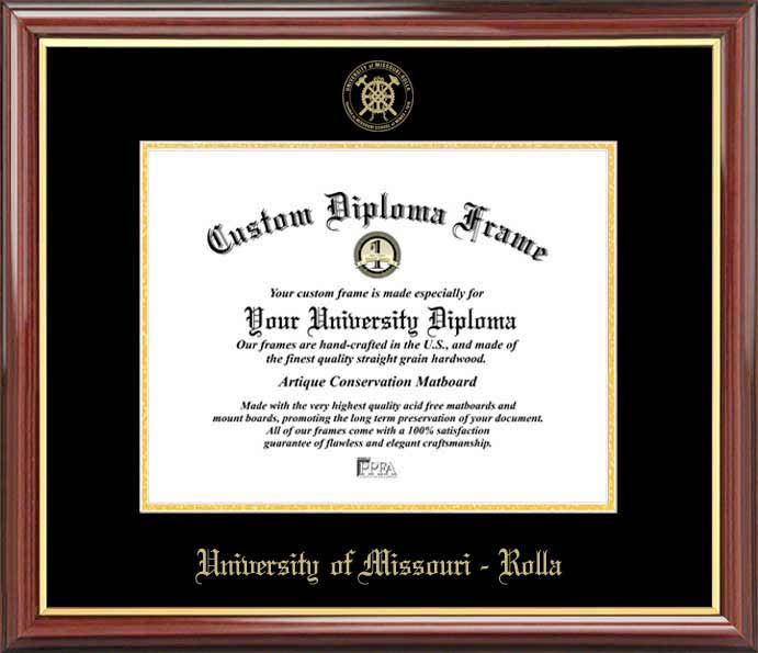 College - University of Missouri-Rolla Miners - Embossed Seal - Mahogany Gold Trim - Diploma Frame