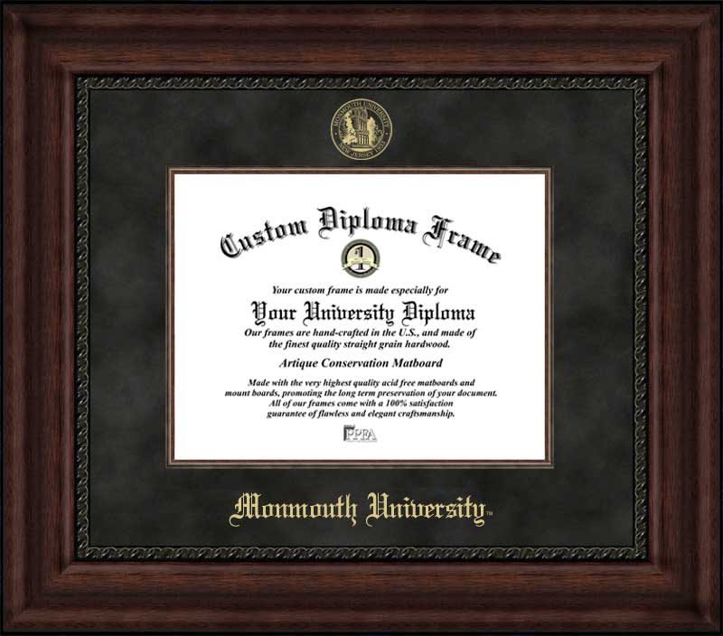 College - Monmouth University Hawks - Embossed Seal - Suede Mat - Mahogany - Diploma Frame