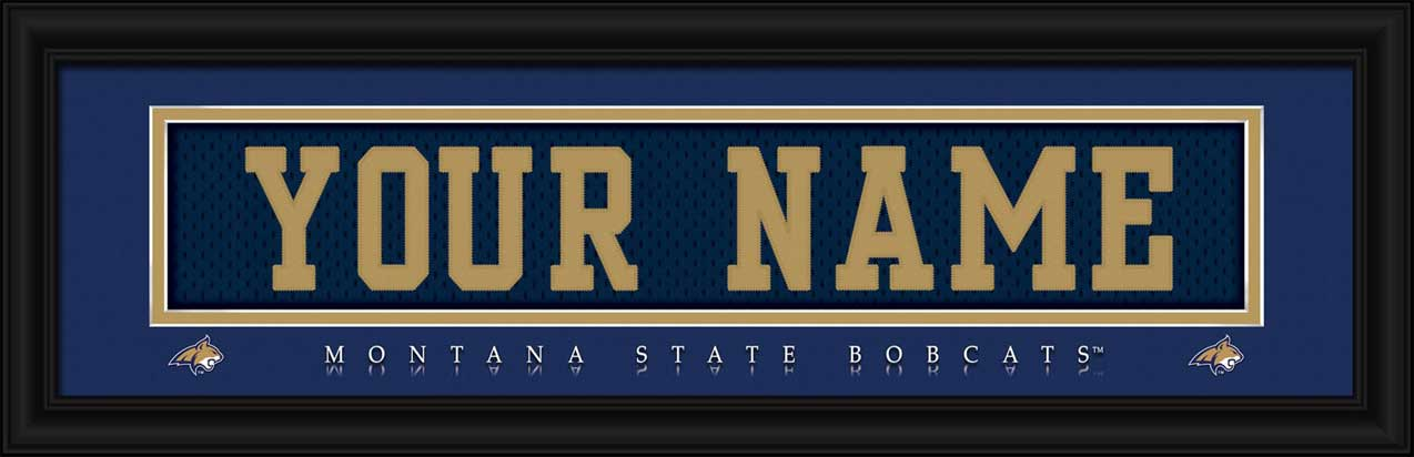 College - Montana State Bobcats - Personalized Jersey Nameplate - Framed Picture