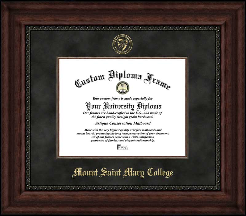 College - Mount Saint Mary College (NY) Blue Knights - Embossed Seal - Suede Mat - Mahogany - Diploma Frame