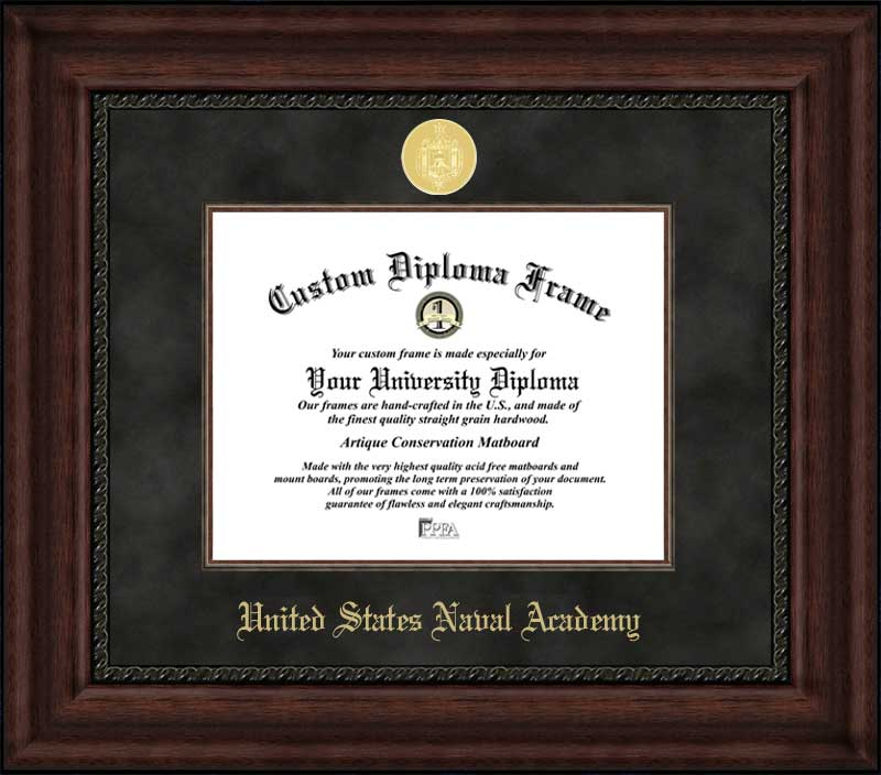 College - United States Naval Academy Midshipmen - Gold Medallion - Suede Mat - Mahogany - Diploma Frame