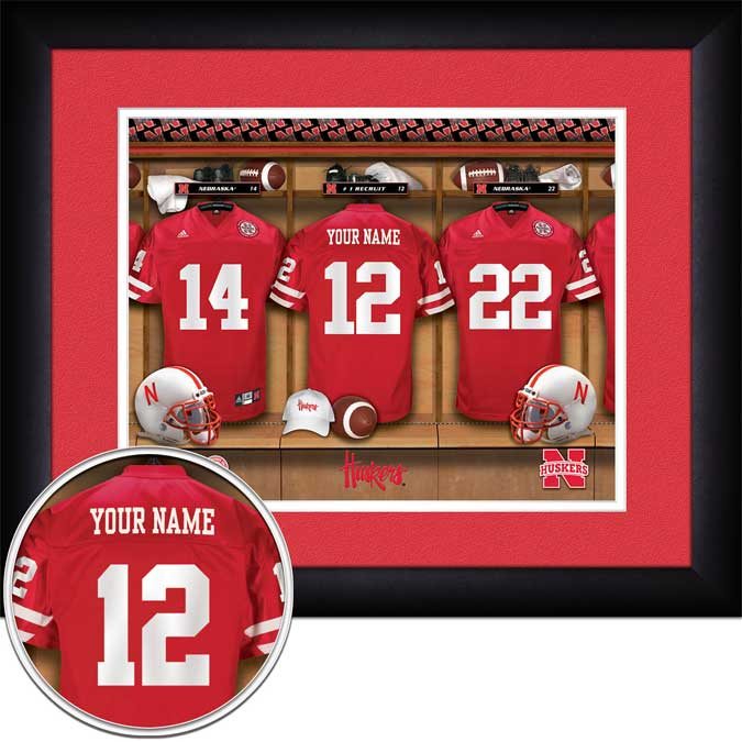 College - Nebraska Cornhuskers - Personalized Locker Room - Framed Picture
