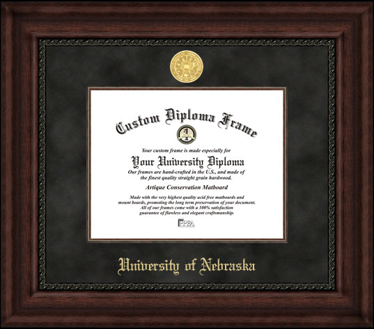 College - University of Nebraska Cornhuskers - Gold Medallion - Suede Mat - Mahogany - Diploma Frame