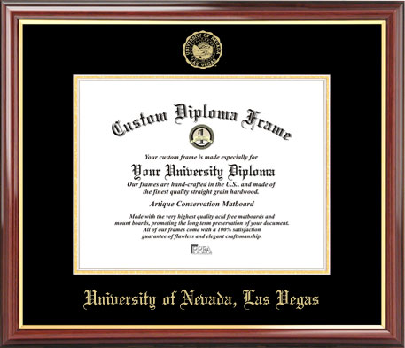 College - University of Nevada Las Vegas Runnin' Rebels - Embossed Seal - Mahogany Gold Trim - Diploma Frame