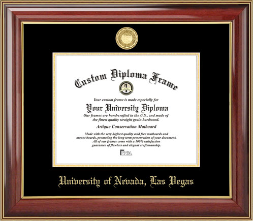 College - University of Nevada Las Vegas Runnin' Rebels - Gold Medallion - Mahogany Gold Trim - Diploma Frame