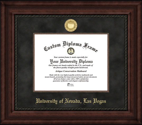College - University of Nevada Las Vegas Runnin' Rebels - Gold Medallion - Suede Mat - Mahogany - Diploma Frame