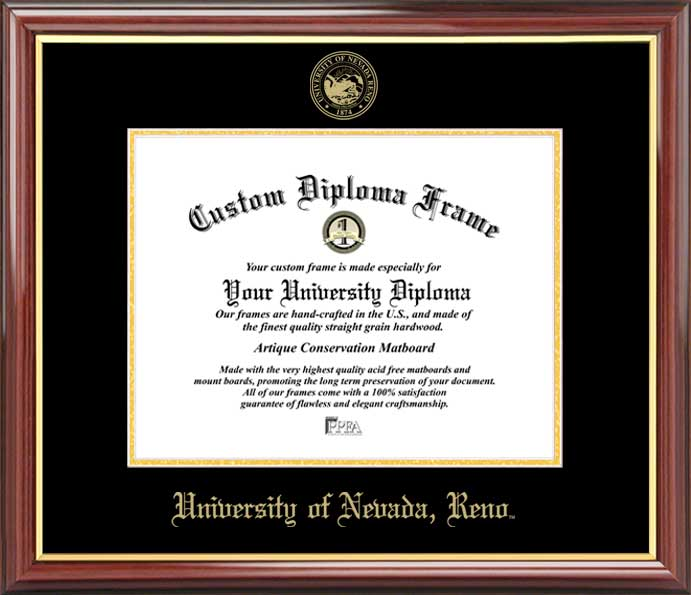 College - University of Nevada Reno Wolf Pack - Embossed Seal - Mahogany Gold Trim - Diploma Frame
