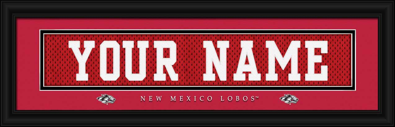 College - New Mexico Lobos - Personalized Jersey Nameplate - Framed Picture
