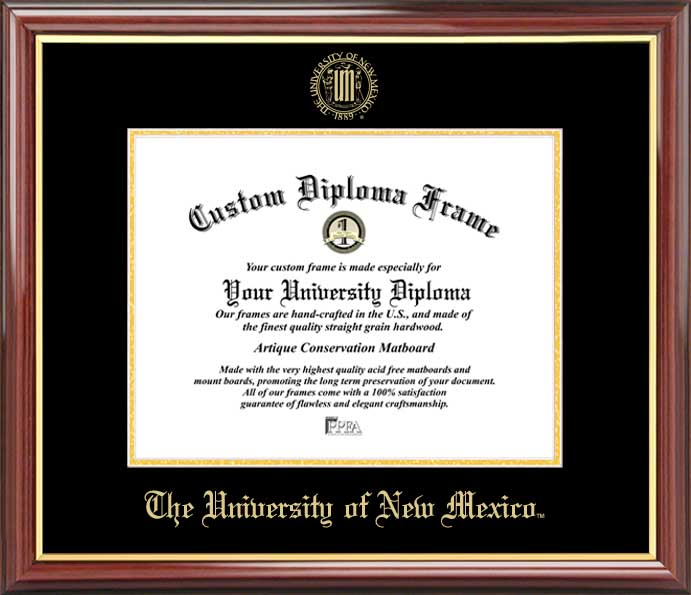 College - University of New Mexico Lobos - Embossed Seal - Mahogany Gold Trim - Diploma Frame