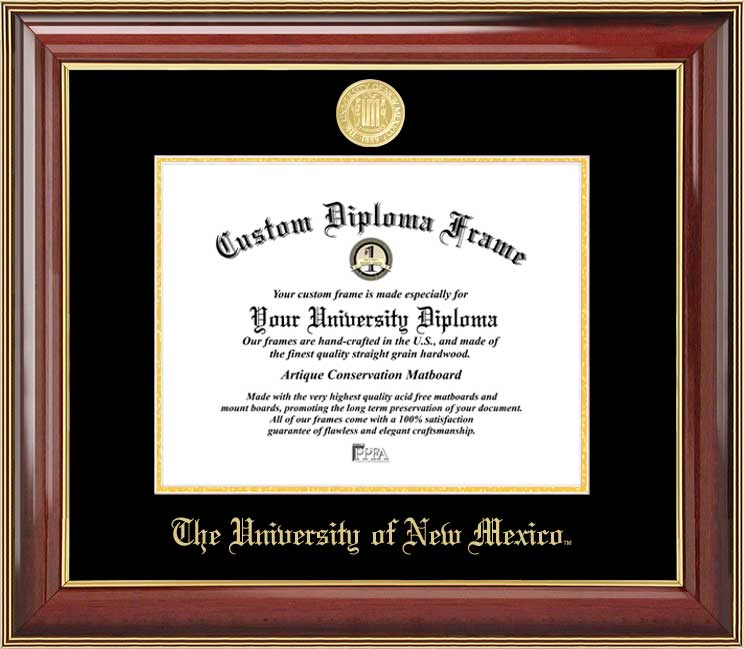College - University of New Mexico Lobos - Gold Medallion - Mahogany Gold Trim - Diploma Frame