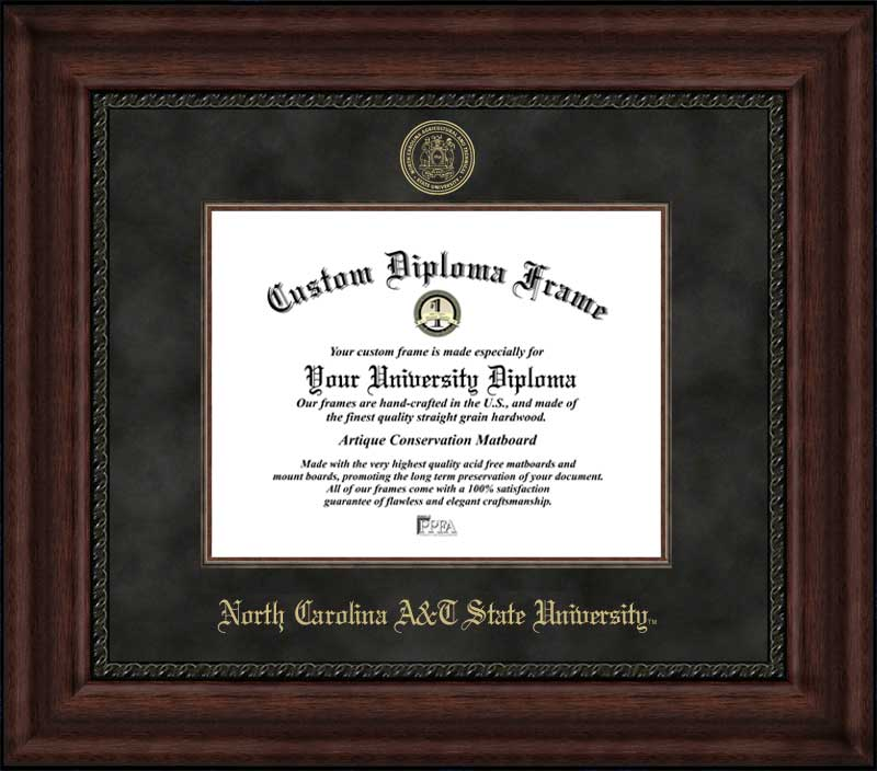 College - North Carolina A&T State University Aggies - Embossed Seal - Suede Mat - Mahogany - Diploma Frame