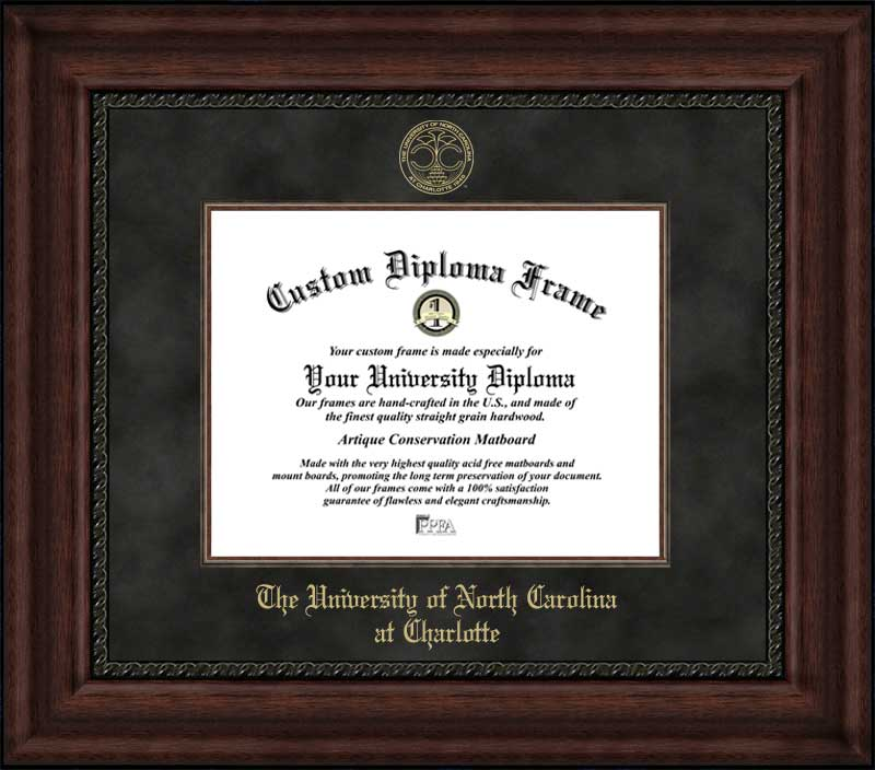College - University of North Carolina at Charlotte 49ers - Embossed Seal - Suede Mat - Mahogany - Diploma Frame