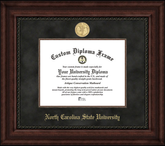 College - North Carolina State University Wolfpack - Gold Medallion - Suede Mat - Mahogany - Diploma Frame