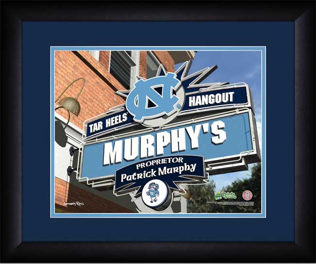 College - North Carolina Tar Heels - Personalized Hangout Sign - Framed Picture