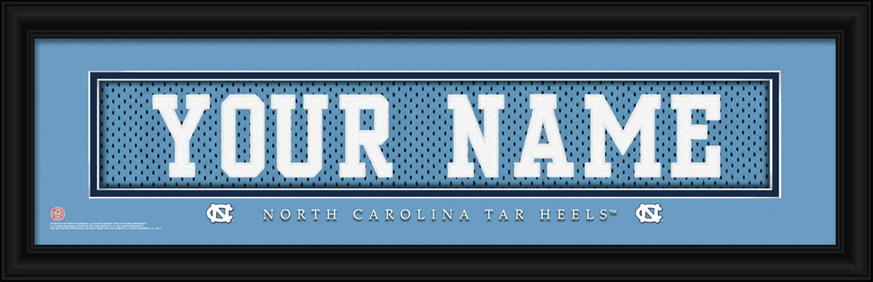 College - North Carolina Tar Heels - Personalized Jersey Nameplate - Framed Picture