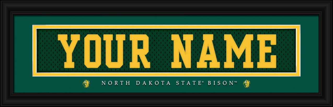 College - North Dakota State Bisons - Personalized Jersey Nameplate - Framed Picture
