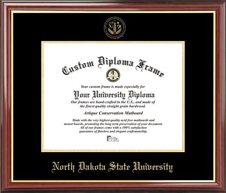 College - North Dakota State University Bisons - Embossed Seal - Mahogany Gold Trim - Diploma Frame