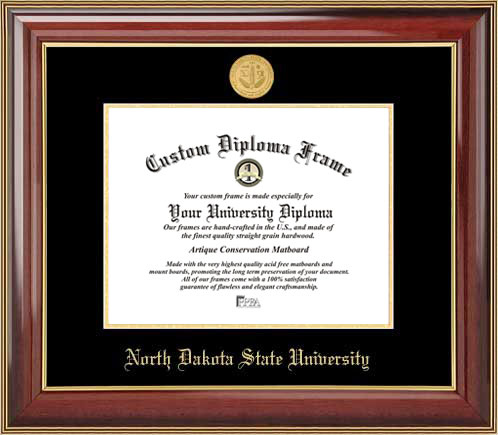 College - North Dakota State University Bisons - Gold Medallion - Mahogany Gold Trim - Diploma Frame