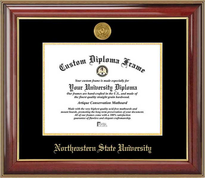 College - Northeastern State University RiverHawks - Gold Medallion - Mahogany Gold Trim - Diploma Frame