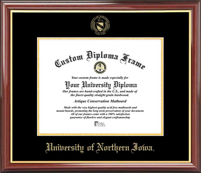 College - University of Northern Iowa Panthers - Embossed Seal - Mahogany Gold Trim - Diploma Frame