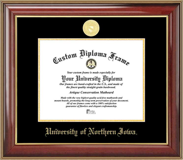 College - University of Northern Iowa Panthers - Gold Medallion - Mahogany Gold Trim - Diploma Frame