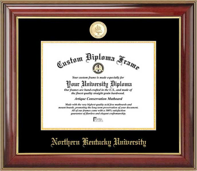 College - Northern Kentucky University Norse - Gold Medallion - Mahogany Gold Trim - Diploma Frame