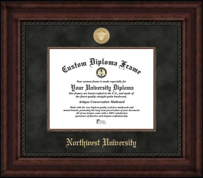 College - Northwest University Eagles - Gold Medallion - Suede Mat - Mahogany - Diploma Frame