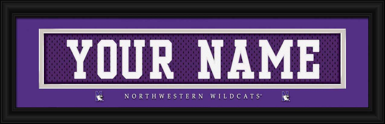 College - Northwestern Wildcats - Personalized Jersey Nameplate - Framed Picture