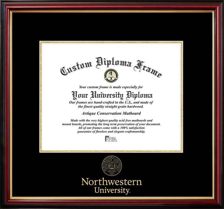 College - Northwestern University Wildcats - Embossed Seal - Mahogany Gold Trim - Diploma Frame