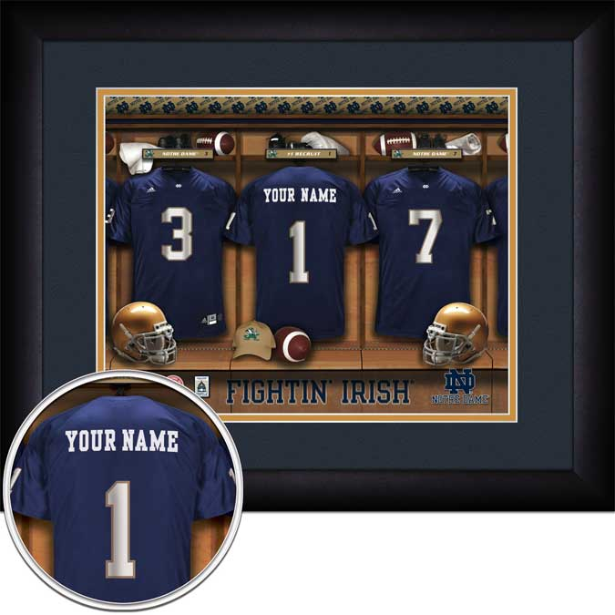 College - Notre Dame Fighting Irish - Personalized Locker Room - Framed Picture