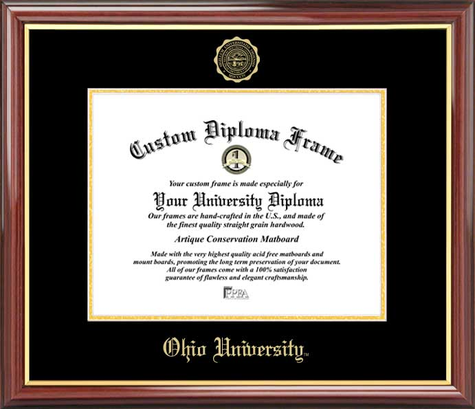 College - Ohio University Bobcats - Embossed Seal - Mahogany Gold Trim - Diploma Frame
