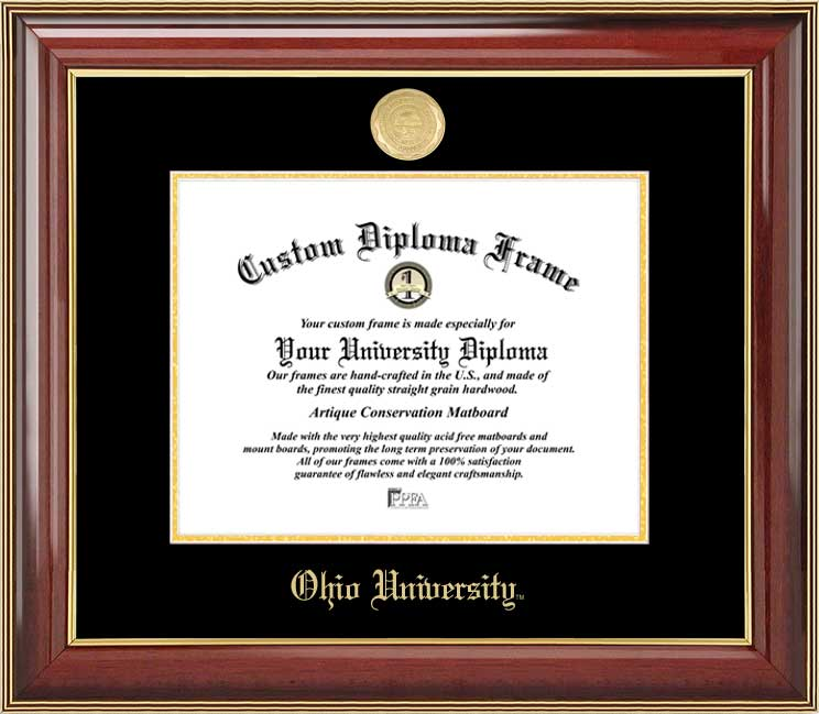 College - Ohio University Bobcats - Gold Medallion - Mahogany Gold Trim - Diploma Frame