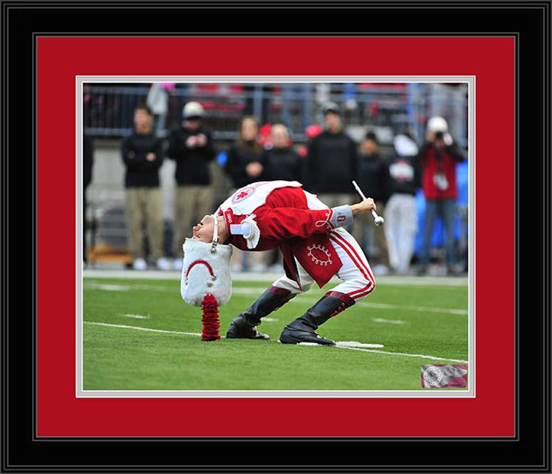 College - Ohio State Buckeyes - Marching Band - Drum Major Back Bend - Framed Picture