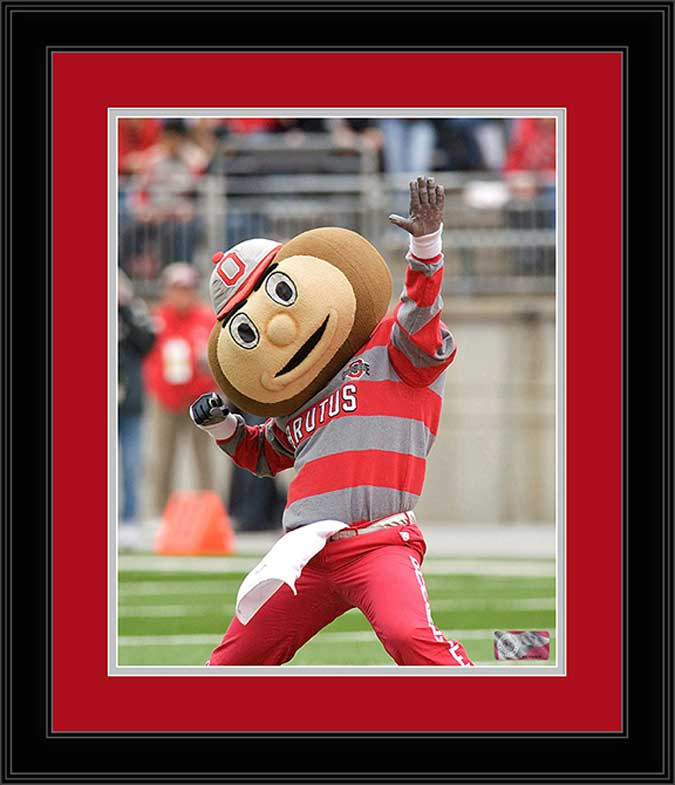 College - Ohio State Buckeyes - Brutus Buckeye - Hand Held High - Framed Picture