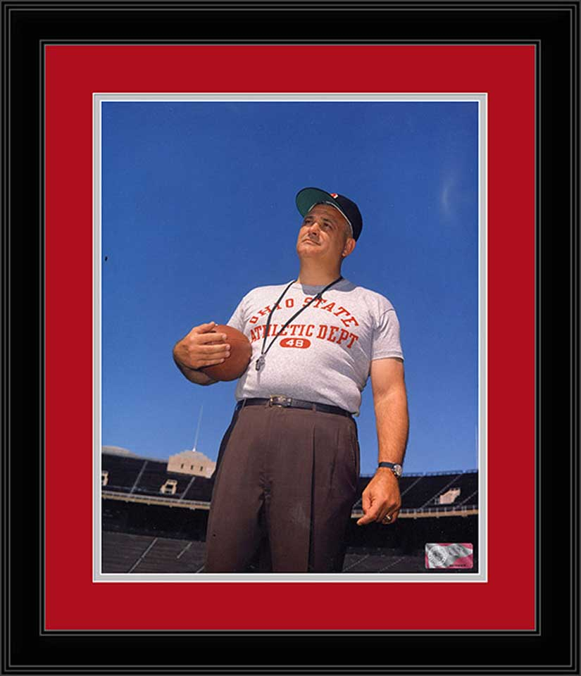 College - Ohio State Buckeyes - Woody Hayes Standing - 1963 - Framed Picture