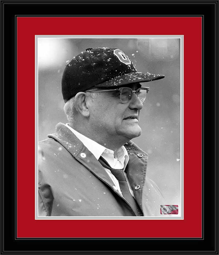 College - Ohio State Buckeyes - Woody Hayes - Snow - Black and White - Framed Picture