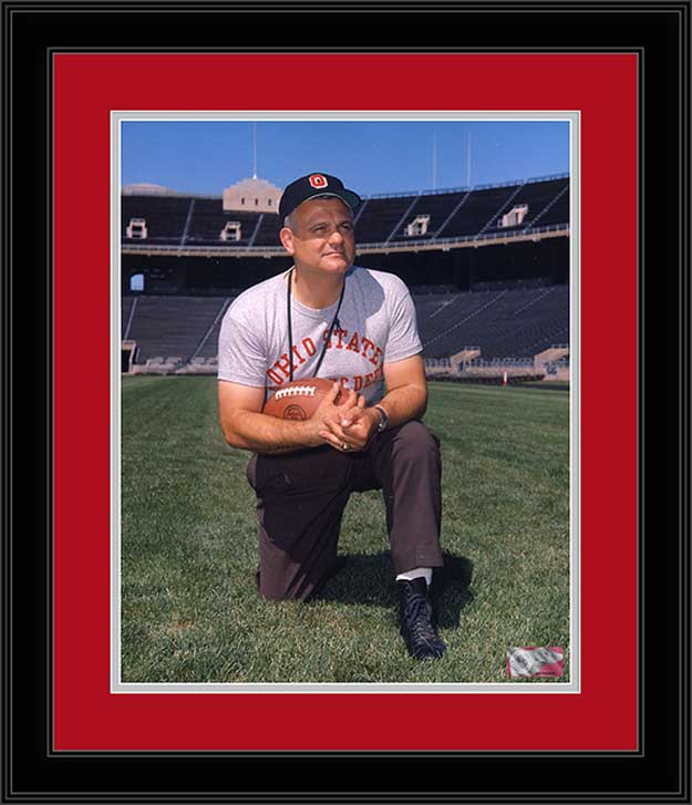College - Ohio State Buckeyes - Woody Hayes Kneeling - Center Field - Framed Picture