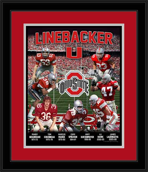 College - Ohio State Buckeyes - Linebacker U - Seven Greats - Framed Picture
