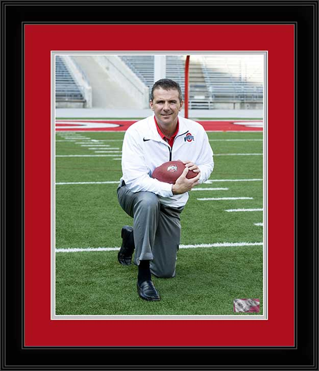 College - Ohio State Buckeyes - Urban Meyer Kneeling - Framed Picture