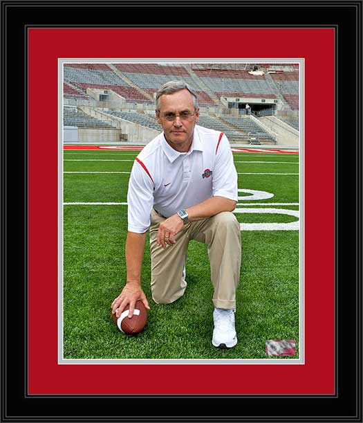 College - Ohio State Buckeyes - Jim Tressel Kneeling - Framed Picture