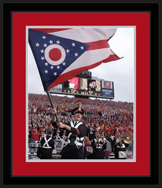 College - Ohio State Buckeyes - Marching Band - Waving Ohio Flag - Framed Picture