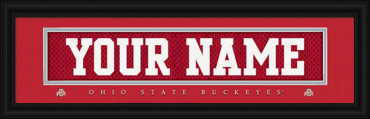 College - Ohio State Buckeyes - Personalized Jersey Nameplate - Framed Picture