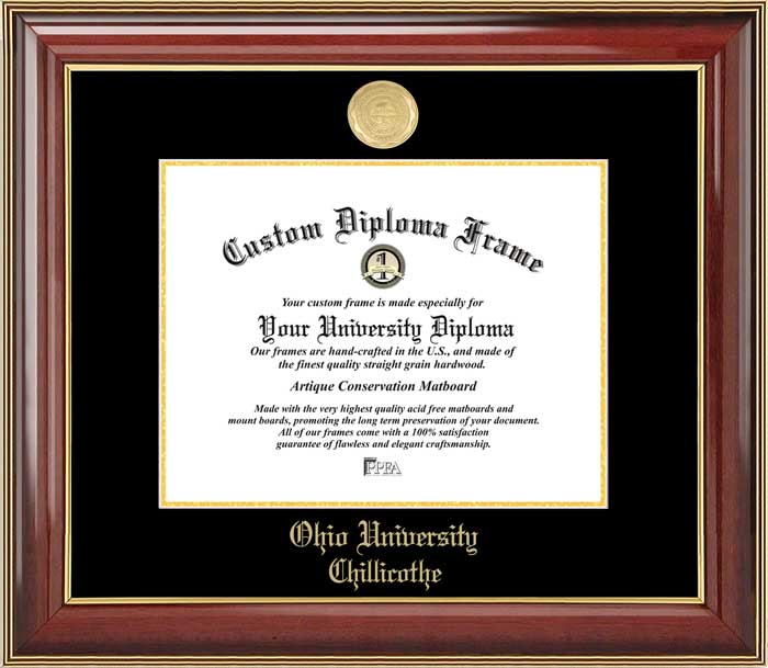 College - Ohio University-Chillicothe Hilltoppers - Gold Medallion - Mahogany Gold Trim - Diploma Frame