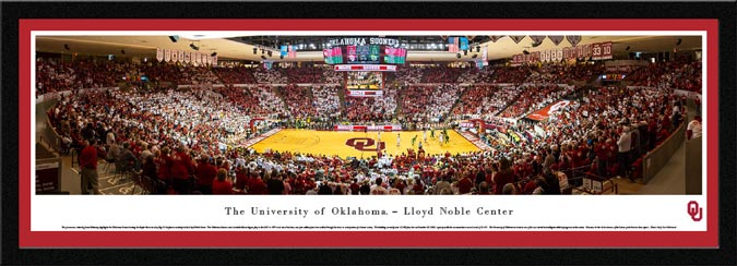 College - Oklahoma Sooners - Lloyd Noble Center - Striped - Framed Picture