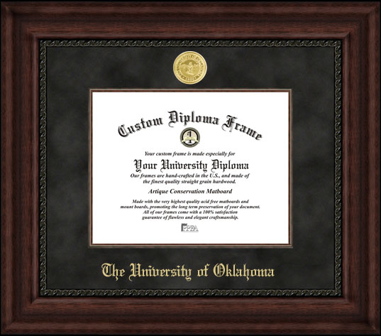 College - University of Oklahoma Sooners - Gold Medallion - Suede Mat - Mahogany - Diploma Frame