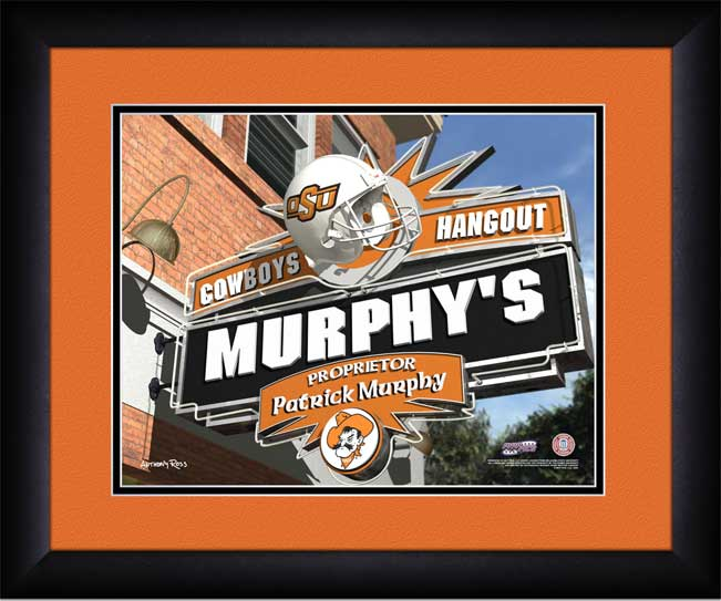 College - Oklahoma State Cowboys - Personalized Hangout Sign - Framed Picture