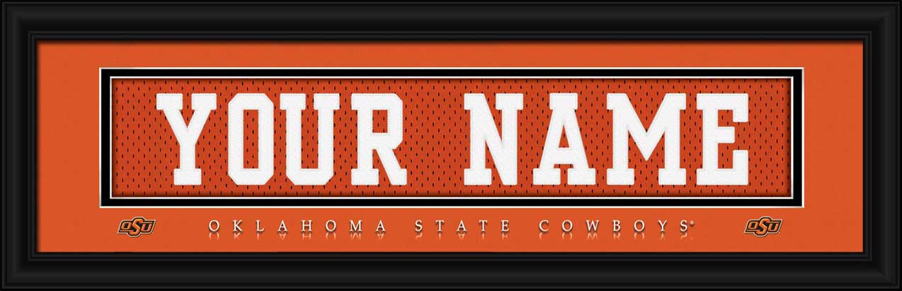 College - Oklahoma State Cowboys - Personalized Jersey Nameplate - Framed Picture