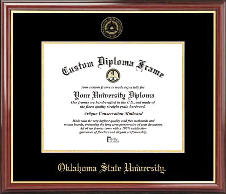 College - Oklahoma State University Cowboys - Embossed Seal - Mahogany Gold Trim - Diploma Frame