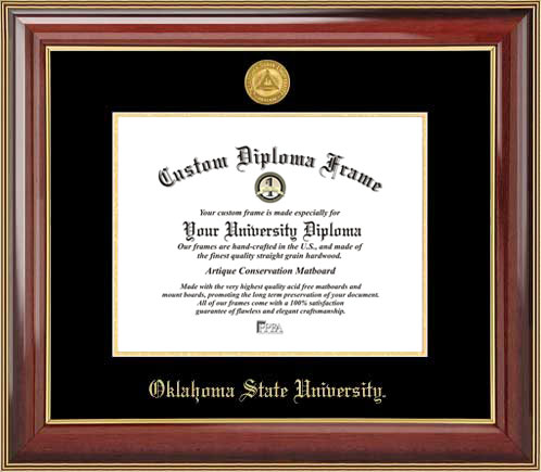College - Oklahoma State University Cowboys - Gold Medallion - Mahogany Gold Trim - Diploma Frame