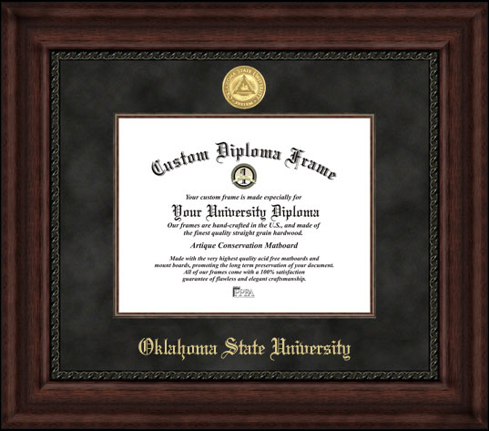 College - Oklahoma State University Cowboys - Gold Medallion - Suede Mat - Mahogany - Diploma Frame